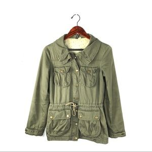 H&M military utility jacket army green size 8